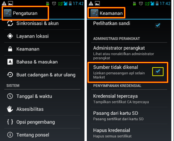 cara setting apk android